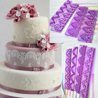 4Pcs Fondant Cake Lace Mold Cutter Sugarcraft Paste Plastic Mould Tool Sets