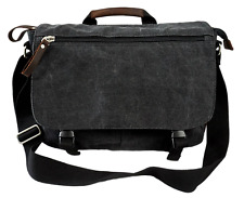 Charcoal 14 to 15 Laptop Notebook Tablet Canvas Messenger Bag Brown Leather Trim