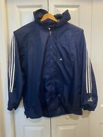Vintage Adidas Mens Full Zip Wind Breaker Jacket Blue Long Sleeve Size M Hooded