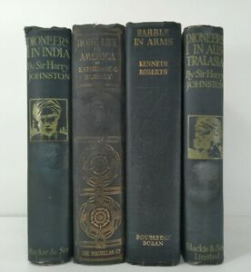 1910~PIONEERS IN INDIA & AUSTRALASIA~Blue 4 Book Lot~Vintage Decor~Staging~MAPS