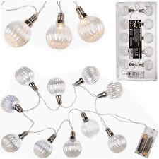 10 X GARLAND GLASS BALLS FAIRY LIGHTS WHITE LED LIGHT INDOOR OUTDOOR 1.20M DECOR