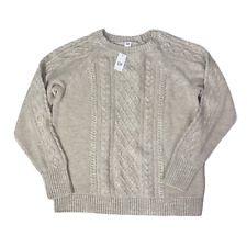 Gap Ladies Cable Knit Jumper Size XL Beige Sweater Cotton Long Sleeve Pullover
