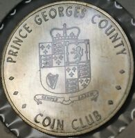 1971 Prince George's County Coin Club 100 Grain Sterling Silver UNC Medal