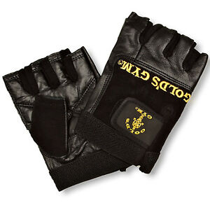 Golds Gym Leather Weight Lifting Gloves Max Lift Body Building Exercise Training