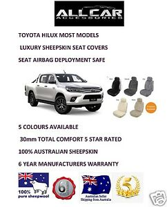 Sheepskin Car Seatcovers for Toyota Hilux, 5 colours, seat Airbag safe.