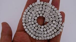 70 Carats Real Big Diamond Solitaire Tennis Necklace Chain 14k White Gold Video