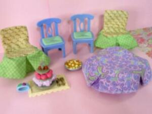 Fisher Price Loving Family Dollhouse Dining Room Table Cover-2 Chairs Cloth-FOOD