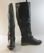 "BLACKS  1"" LOW BLOCK  heel round toe combat  knee boot     .Size ... 9"