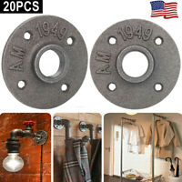 "1"" Cast Iron Flange Base Malleable Wall Mount Threaded Floor Pipe Fittings 20PCS"
