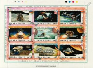 History of Space Exploration 1957-1989 Spacecraft Stamp Sheet #1 (Sierra Leone)
