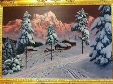 """Alois Arnegger Original Oil Painting, Austria 24"""" x 36"""" Framed 22K Gold"""