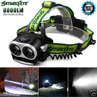8000LM 2X XM-L T6 LED Rechargeable USB Headlamp Headlight Head Light Torch+18650