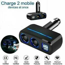12V Car Cigarette Lighter Socket Splitter Phone 2 Way USB Charger Adapter Plug