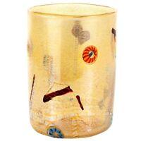 Vaso cilindrico in vetro Murano ambra con murrina millefiori argento idea regalo