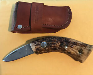 Western  fixed blade knife with New Bear & Son Leather Sheath