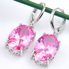 Wedding Jewelry Oval Cut Natural Pink Fire Topaz Silver Dangle Hook Earrings