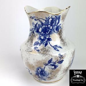"""Rare Antique Dunn Bennett 5 1/2"""" Flow Blue Rose Gold Gilt flower Vase"""