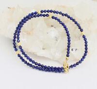Natur Lapis kette Edelsteinlkette lapis-Lazuli Collier 925 Silber Marine blau