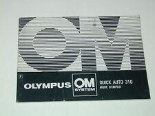 OLYMPUS notice QUICK AUTO 310 FLASH mode d'emploi en Français photo photographie