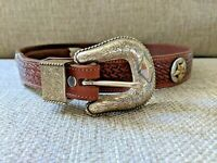 """Nadim Western Belt Size 34 Lone Star Texas Tooled Leather 1 1/4"""" Wide Made in US"""