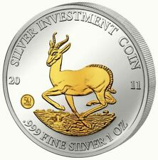 Malawi 2011 Springbock 50 Kwacha Silver Investment Coin 1 Oz Silber - gilded!