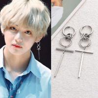 KPOP JIN JINMIN Earrings Bangtan Boys V Stud Doulbe Ring Chain Earrings Gift