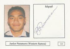 Junior Paramore (Samoa) RUGBY PLAYER SIGNED PHOTO CARD ORIGINAL AUTOGRAPH