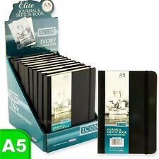 A5 Black Blank Plain Sketching Art Journal Ivory Paper Note Sketch Book 192 Page