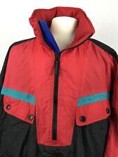 Mens Xl Obermeyer Ski Jacket Vtg Black Red Coat Snowboard Teal Blue Hooded