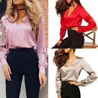 Women Fashion Shirt Sexy V Neck Satin Blouse Casual Long Sleeve Office Tops