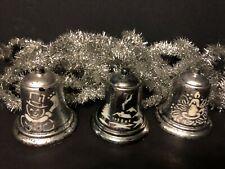 "Vintage 1940s-50s Christmas Bells & Silver Tinsel Garland ~ 196"" / 16 1/3 feet"