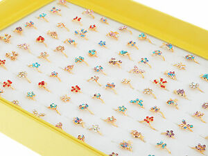 Wholesale 20pcs Bulk Gold Plated Cute Kids/Childrens Party Crystal Fashion Rings