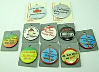 """Vintage Novelty Funny Humorous Pin Back Lapel Buttons 1.75"""" & 2.25""""  Lot 10  NOS"""