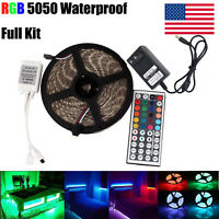 5M RGB 5050 Waterproof LED Strip Light SMD 44 IR Remote 12V 3A Power Full Kit #A