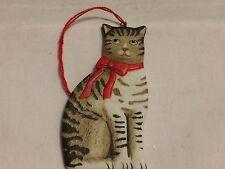 VINTAGE SCHMID  1984   FLAT ORNAMENT  TABBY CAT BISQUE CHRISTMAS ORNAMENT