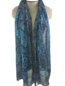 fashion scarf 72 x 20 blue silver metallic thread paisley fringe shawl long neck
