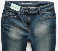 BNWT NEXT skinny high rise ankle grazers zips dark blue stretch jeans P R L XL