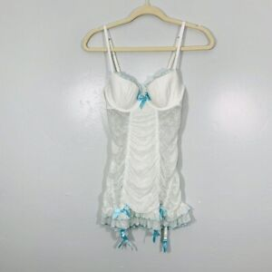 Victoria Secret Sexy Little Things White Sheer Teal Accent Push Up Bra Lingerie