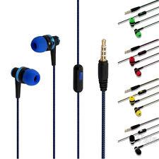 Braided 3.5mm In-Ear Earphone Stereo Super Bass Headset Metal Earbud W/ Mic Lot