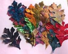 Batik Oak Leaves Fabric Scraps Pack Remnants Patchwork Bundles 100 Cotton