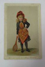 Eleanor E. Manly Happy Christmas Card with Young Girl Holding Racquet (Tennis?)