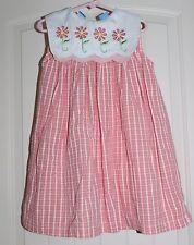 Girls OCi Coral Seersucker Daisy Flower Collar Boutique Casual Cotton Dress sz 4