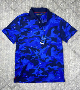 NEW Sz MED Men's Polo Ralph Lauren X Justin Thomas Pro Fit Blue Camo Golf Polo