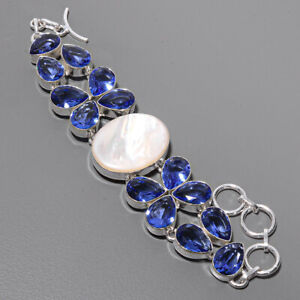 "Mother Of Pearl & Iolite 925 Sterling Silver Ethnic Bracelet 7-7.99"" B4930-45"