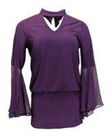 Laurie Felt Women's Top Sz S Knit Woven Bell Sleeves Purple A301676