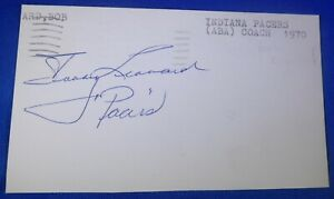 BOBBY LEONARD HOF signed autograph 3x5 Minneapolis Los Angeles Lakers 1956-61