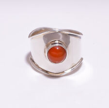 925 Sterling Silver Ring Size US 7, Natural Carnelian Handcrafted Jewelry CR2941