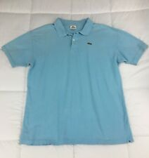 Men's LACOSTE Polo Shirt Short Sleeve Blue Cotton Solid 8 3XL US Alligator EUC