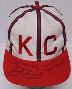 Vtg 1990s KANSAS CITY MONARCHS NEGRO LEAGUES Signed Autographed Hat COA & CASE