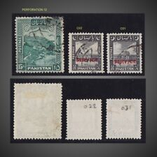 1948 1949 PAKISTAN LOT TWO OFFICIAL + KHYBER PASS PERF. 12 USED SCT.42b O22 O31